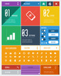 flat user interface template + 36 flat icons & design