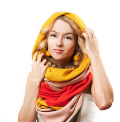 Blonde Woman in Yellow Hood. Isolated on White.