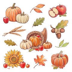Collection of watercolor autumn illustrations. Thanksgiving set