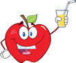 Smiling Apple Cartoon Character Holding A Glass With Drink