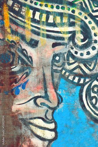 Keuken foto achterwand Vlinders in Grunge picture on stone