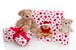 Weihnachtsgeschenke für Kinder - Geschenke in Rot isoliert