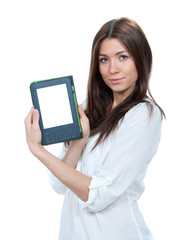Woman hold modern ebook book reading device
