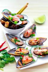 Green shell mussels