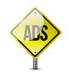 to many ads road sign illustration design