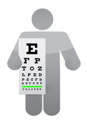 doctor and eye exam chart illustration design