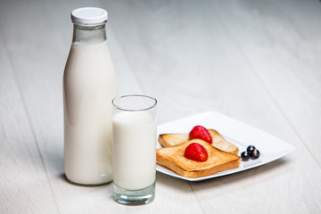 milk bottle and glass with toasts
