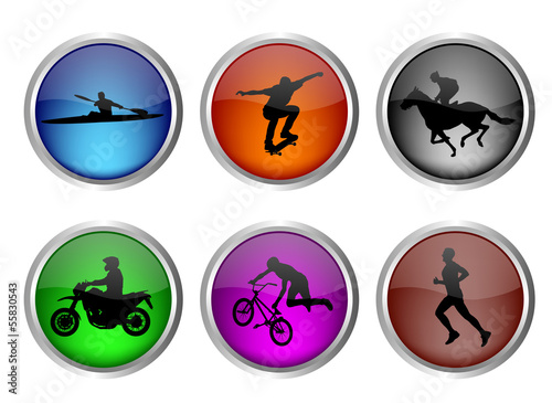 glossy sport buttons set - vector