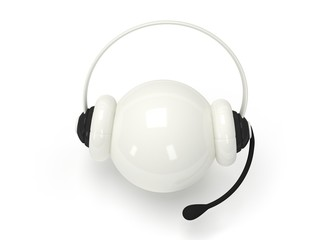 White orb with headset isolated over white