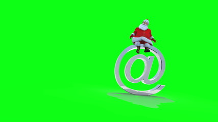 Santa sits on an AT, Against green, versoin 2 loop.