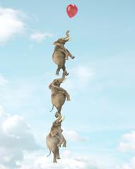 Tres elefantes en un globo