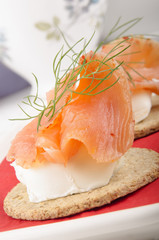oatcakes with softcheese and salmon