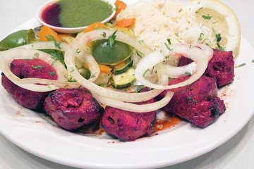 East Indian Lamb Kebab with Rice Closeup
