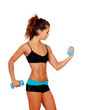 Beautiful woman do toning exercises with dumbbells