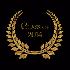 class of 2014 gold laurel on black