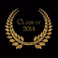class of 2014 gold laurel on black