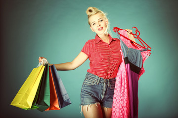 Girl with shopping bags retro style