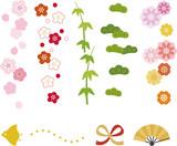 Fototapety 和風の花や松竹梅の縦ライン