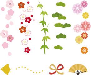 和風の花や松竹梅の縦ライン