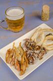 Freshly fried fish with a beer, an Andalusian tapa