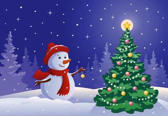 Snowman decorating a tree