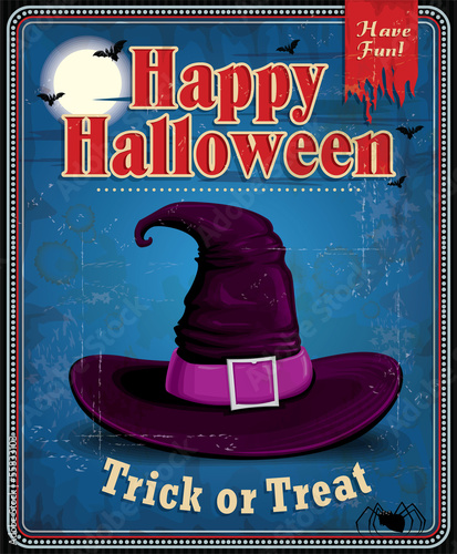 Vintage Halloween witch hat poster design