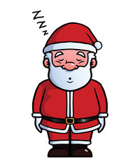 Santa Claus sleeping and snoring.