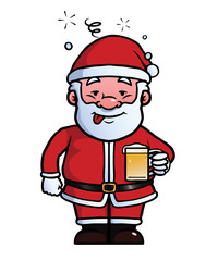 Santa Claus holding a beer while being drunk.