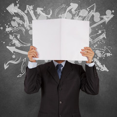 businessman with blank book and arrows choice