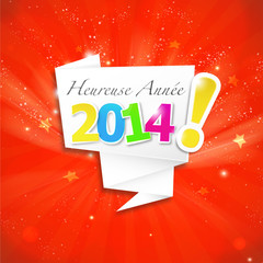 bulle origami : heureuse année 2014 v3 rouge