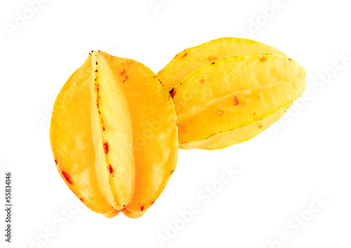 carambolas - starfruits isolated on white background