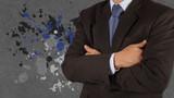 businessman success with splash colors background
