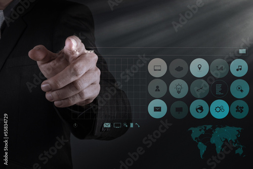 businessman hand working with www. written in search bar