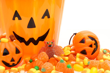 Halloween candy and Jack o Lantern holders