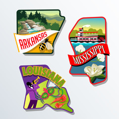 Arkansas Mississippi Louisiana luggage sticker designs