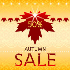 Autumn sale background with maple leaf.