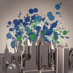 abstract 3d city on splash colors background