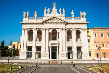 Roma, San Giovanni cathedral, facade and square