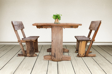 old wood chair and wood table