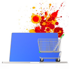online shopping 3d on splash colors background