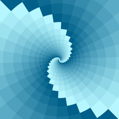 Blue background with geometric patterns.