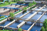 Floating surface aerators tanks on sewage treatment plant