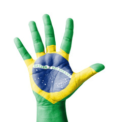 Open hand raised, multi purpose concept, Brazil flag painted