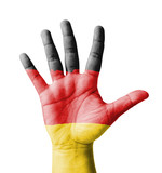 Open hand raised, multi purpose concept, Germany flag painted