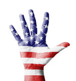 Open hand raised, multi purpose concept, USA flag painted