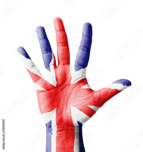 Open hand raised, multi purpose concept, UK flag painted