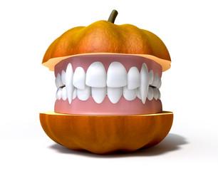 Pumpkin Split With Vampire Teeth