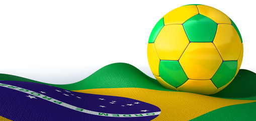 Brazilian Flag And Soccer Ball