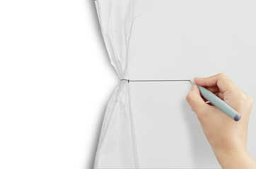 hand drawing  rope open wrinkled paper show white background