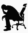 Silhouette of businessman sitting with hand on his head.
